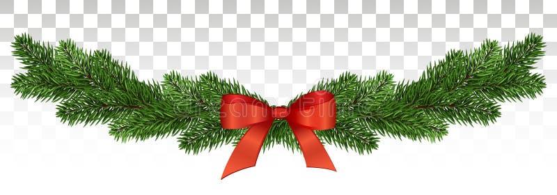 Banner met de slinger en de ornamenten van de Kerstmisboom voor vliegers, affiches, kopballen Vector illustratie EPS10 vector illustratie