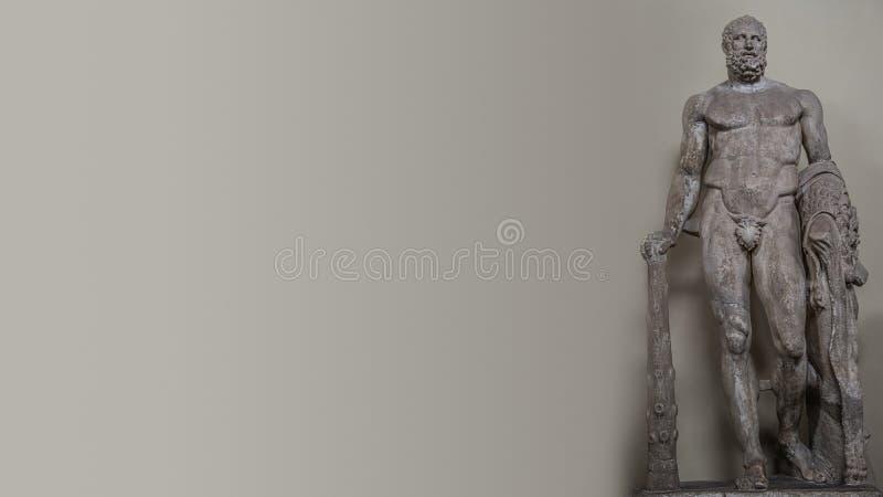 Banner met een standbeeld van krachtige Hercules met een club in Rome, Italië royalty-vrije stock afbeeldingen