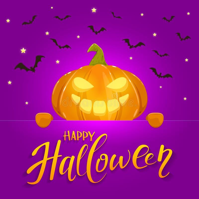 Banner met Gelukkige Pompoen op purpere Halloween-Achtergrond stock illustratie