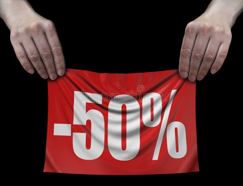 Banner met -50% in handen vector illustratie