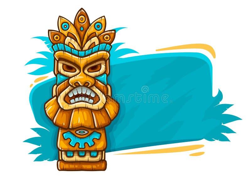 Banner met het etnische traditionele stammenmasker van Tiki royalty-vrije illustratie