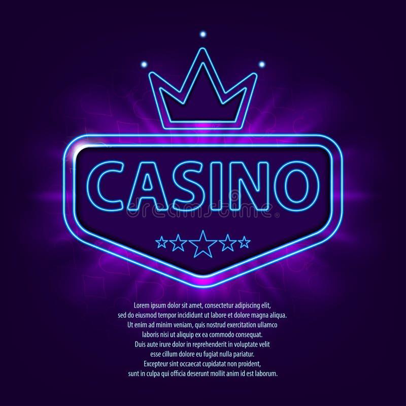 Banner met neonkader Het neon heldere banner van het casinokader op donkere achtergrond Helder de reclamemalplaatje van het vegas royalty-vrije illustratie