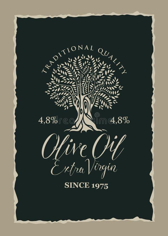 Banner met olijfboom en geëtiketteerde olijfolie stock illustratie
