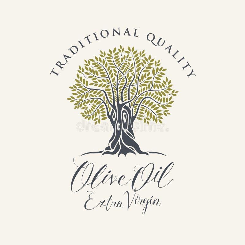 Banner met olijfboom en geëtiketteerde olijfolie royalty-vrije illustratie
