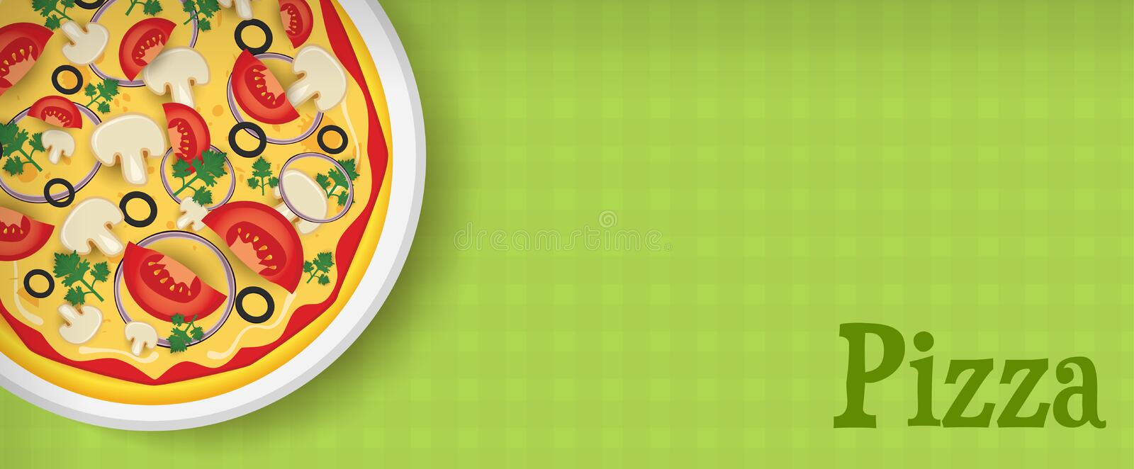Banner met pizza stock illustratie