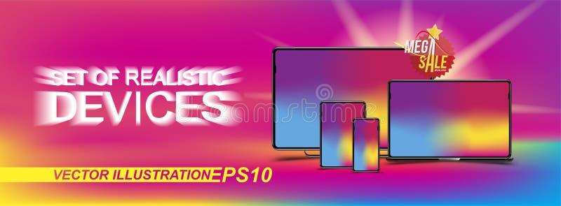 Banner met reeks realistische apparaten - smartphone, tablet, laptop en computer op de kleurenachtergrond Sticker megaverkoop en  stock illustratie