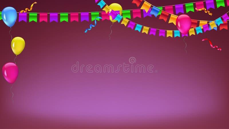 Banner met slinger van kleurenvlaggen, opblaasbare impulsen en kronkelweg Vector 3d illustratie Achtergrond voor affiche stock illustratie