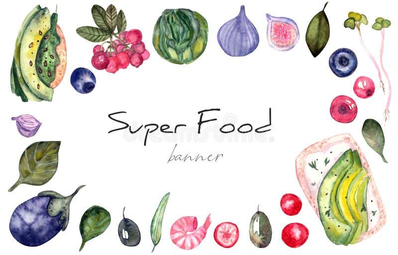 Banner met verse Groenten, gezonde voedselillustratie royalty-vrije illustratie