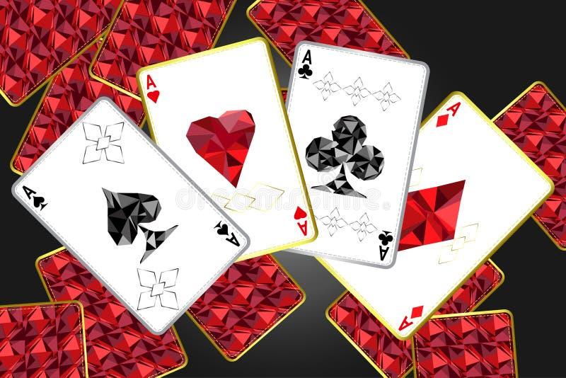 Banner met vier azen en een specifiek overzicht en kostuums Op de achtergrond, een rode kaartdekking met een specifiek ornament vector illustratie