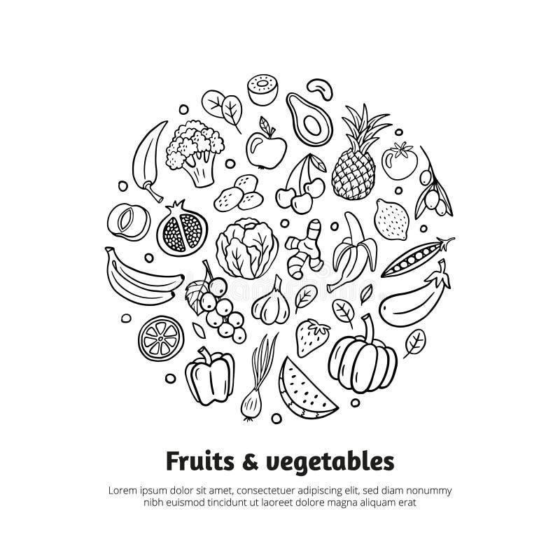 In banner met vruchten, groenten, en tekst in organische krabbelstijl vector illustratie