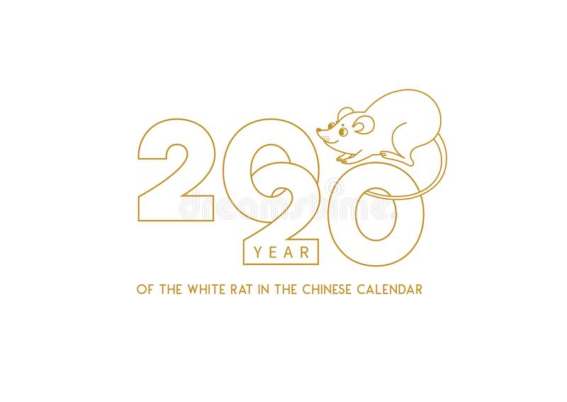 Banner mit dem Symbol des Weißen Metallratten von 2020 auf dem chinesischen Kalender stock abbildung