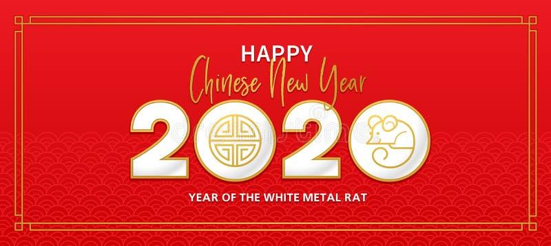 Banner mit dem Symbol des Weißen Metallratten von 2020 auf dem chinesischen Kalender vektor abbildung