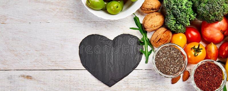Banner mit Hintergrundinformationen gesunde Lebensmittel für Herz Gesunde Ernährung, Ernährung und Leben lizenzfreie stockfotos