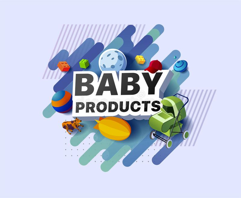 Banner moderno de produtos para bebês ilustração do vetor