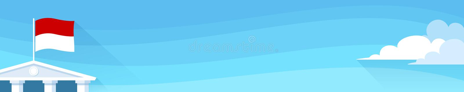 Banner with monaco flag on roof of administrative or government building vector illustration