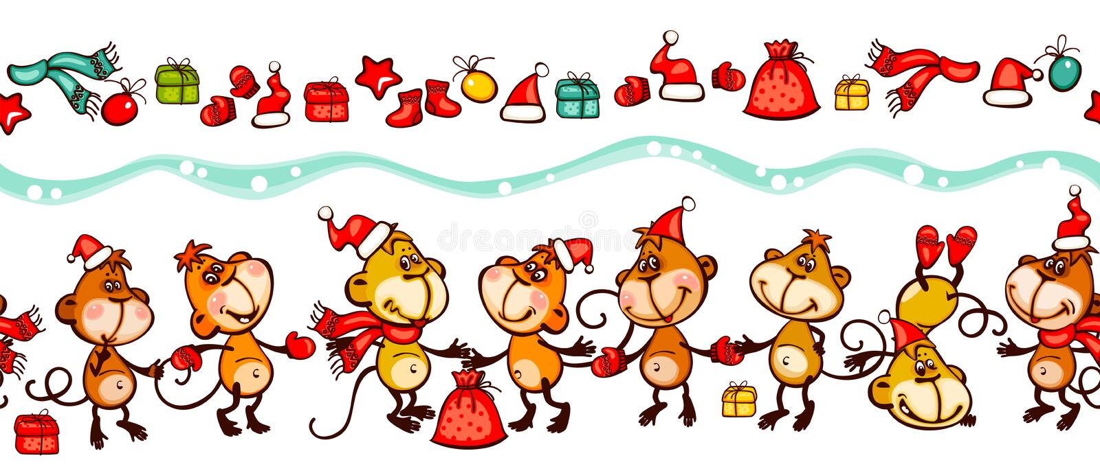 Banner 2016 monkey. Chinese zodiac banner 2016 with the many group monkey vector illustration