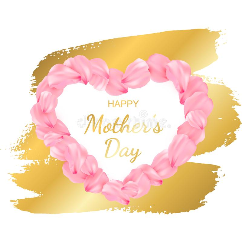 Banner for Mothers day holiday with pink realistic petals vector illustration