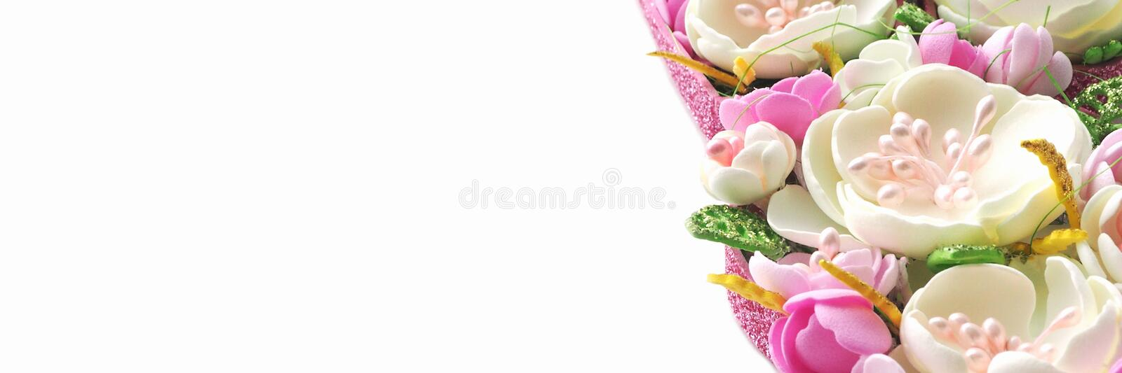 Banner multicolored flowers handmade pastel shades isolate on a white background in popular sizes for social networks. Copy space royalty free stock image