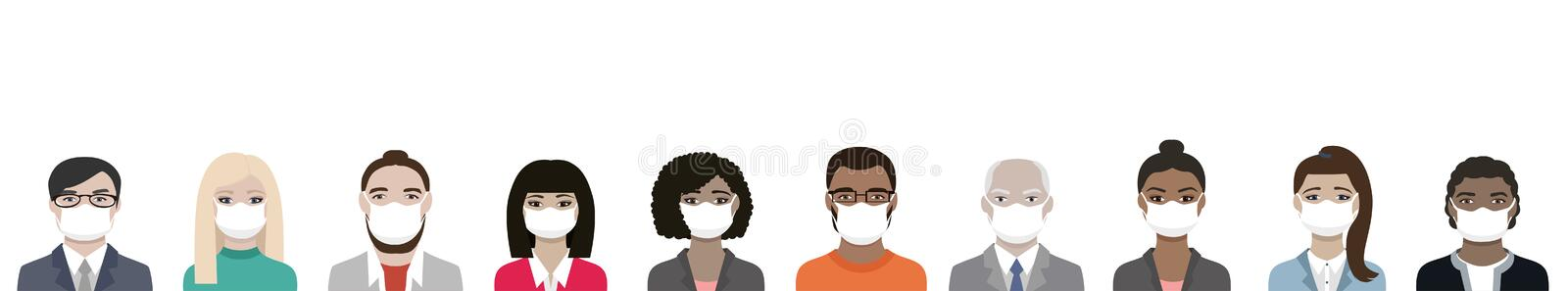 Banner of Multiracial people wearing ppe masks for coronavirus covid-19 protection. A diversity team of men and women vector illustration