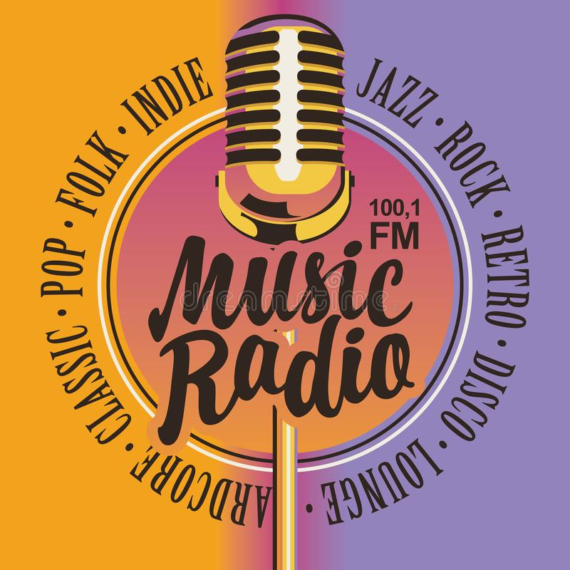 Banner for music radio with golden microphone. Vector banner for music radio station with microphone and inscription in retro style. Radio broadcasting concept stock illustration