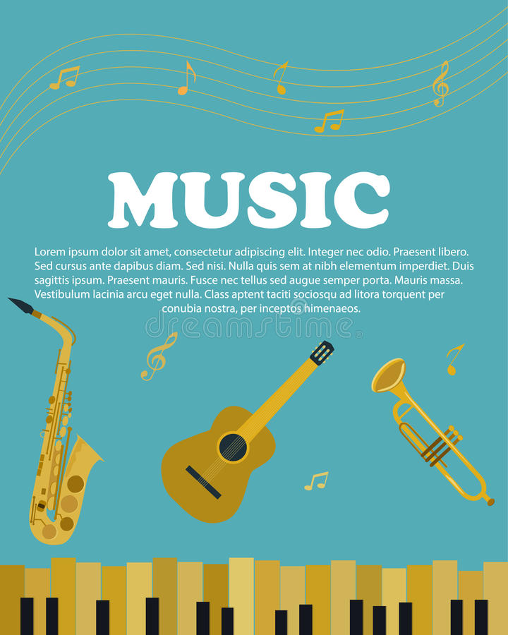 Banner with musical instruments piano, saxophone. guitar royalty free illustration