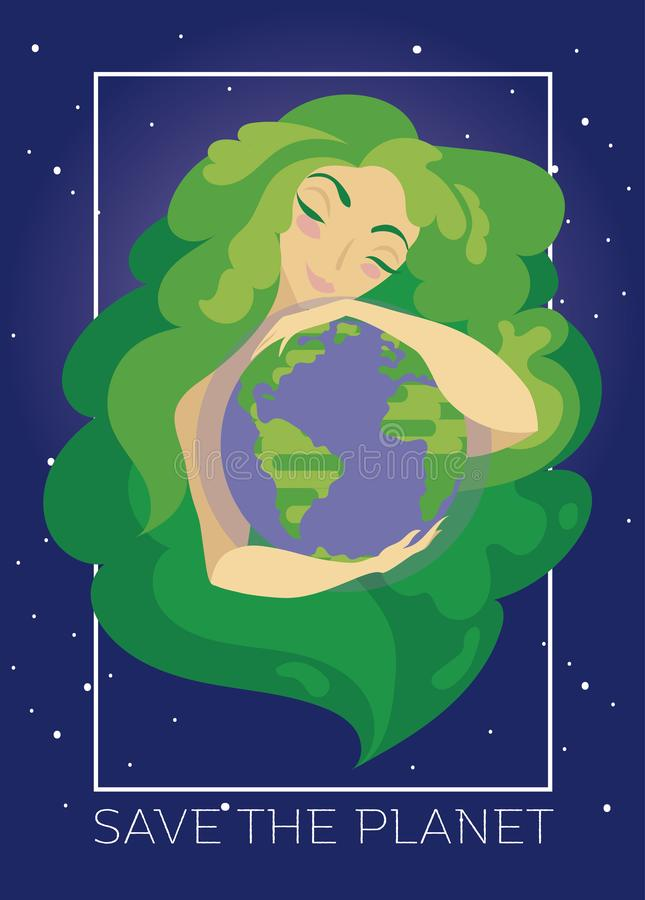 Banner with natural woman with green hair hugging our planet royalty free illustration