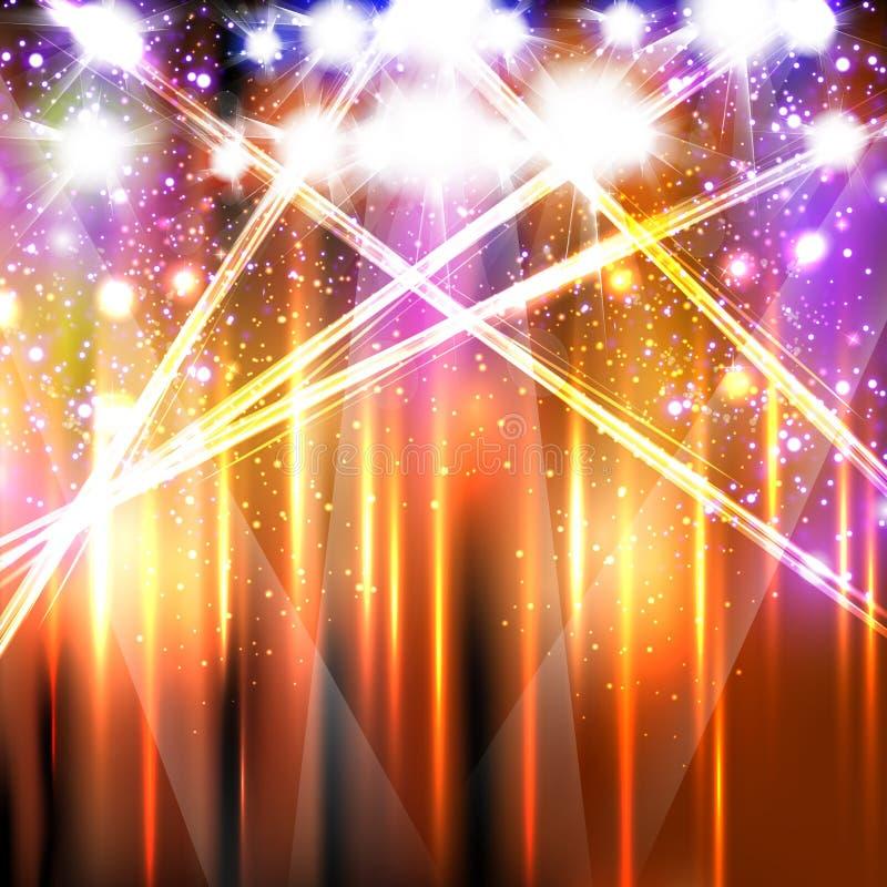 Banner neon light stage background vector illustration