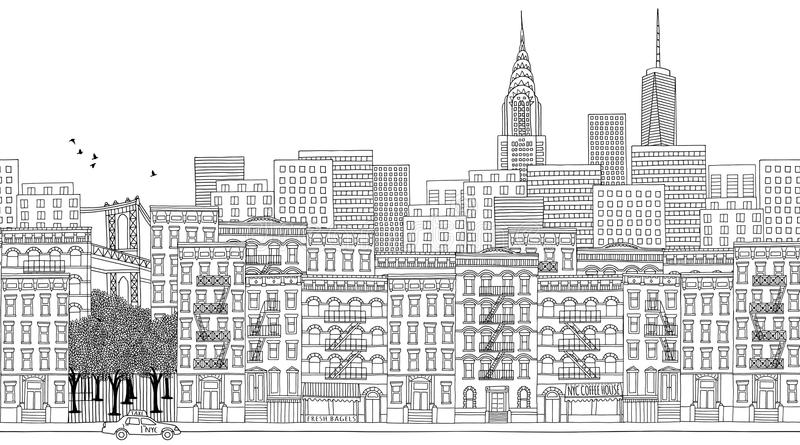 Banner of New York City. Hand drawn seamless banner of New York City royalty free illustration