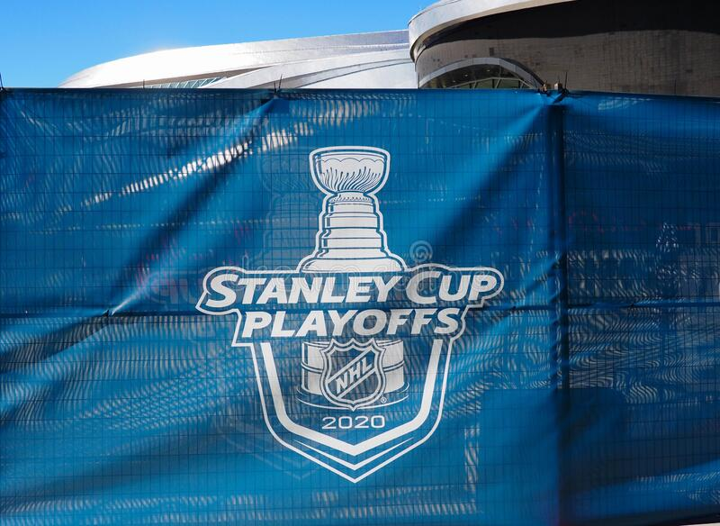 Banner For The NHL Playoffs In 2020 stock image