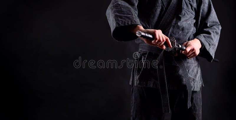 Banner with ninja, samurai. Banner with ninja samurai, sword baring royalty free stock photo