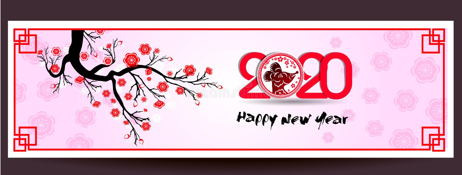 Happy New Chinese Year 2020 year of the Rat year of the mouse stock illustration