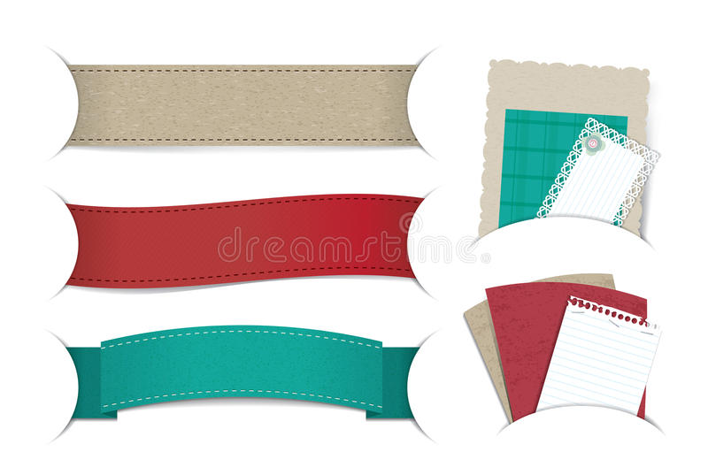 Banner & note paper. Banner and note paper for your text or scrapbook elements