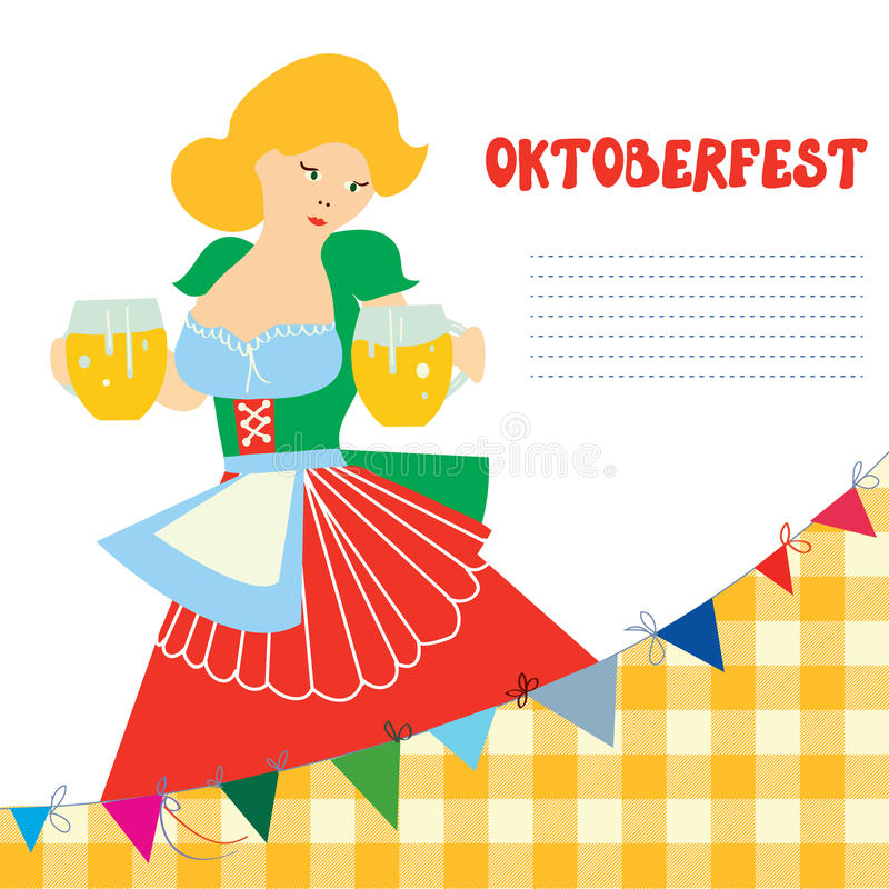 Banner for Oktoberfest with girl and beer royalty free illustration