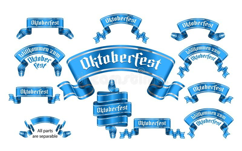 Banner Oktoberfest Ribbon Gothic Lettering Label Solemn Achieving Set royalty free illustration