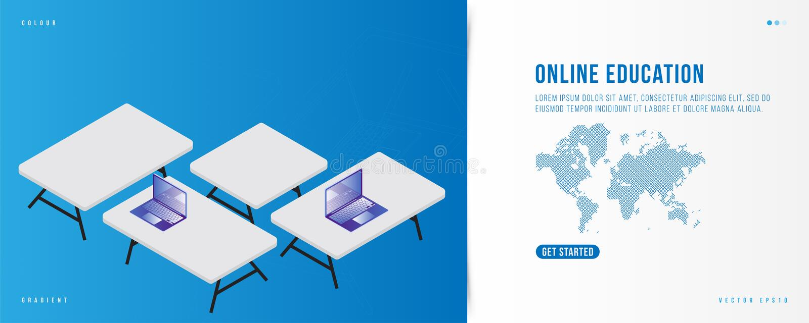 Banner Online Education. Landing Page design template for web site with Icon technology world map on the background. Laptops in isometric style on the table stock illustration