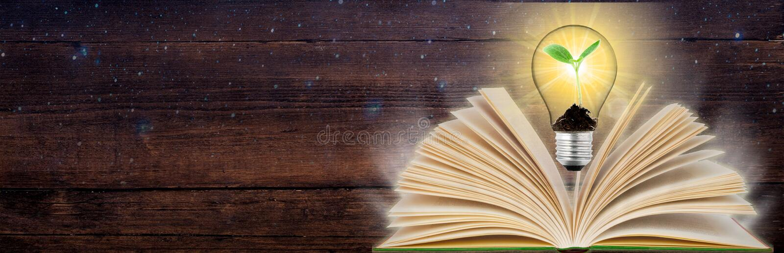 Banner Open book and glowing light bulb over it. Knowledge, education concept. Panoramic view. Copy space. Open book and glowing light bulb over it. Knowledge royalty free stock image