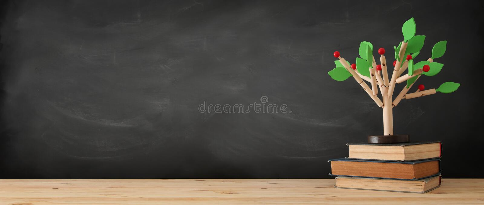 banner of open book and wooden tree puzzle over blackboard background. education and knowledge concept. stock photos