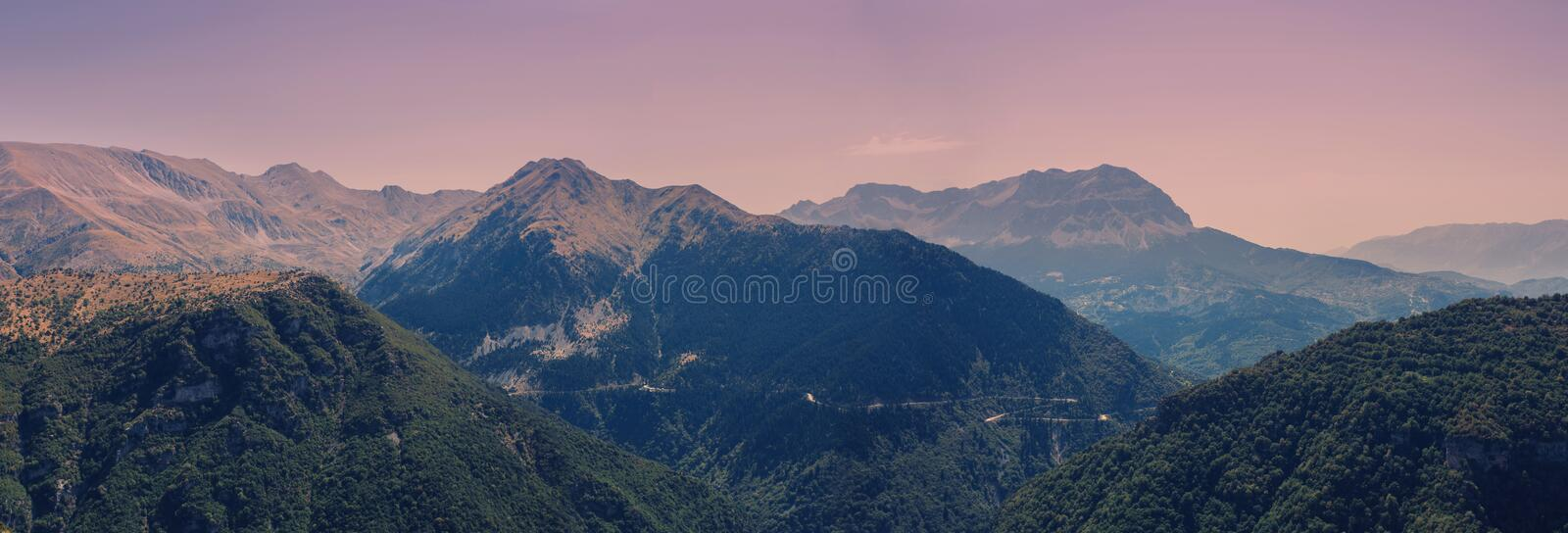Banner of Panoramic view of mountain in National Park of Tzoumerka, Greece Epirus region. Mountain royalty free stock photography