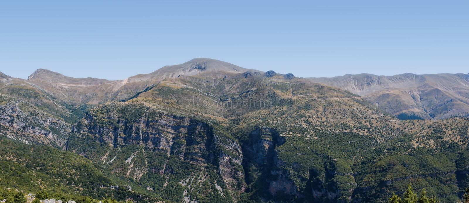 Banner of Panoramic view of mountain in National Park of Tzoumerka, Greece Epirus region. Mountain royalty free stock images