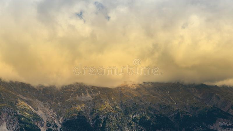 Banner of Panoramic view of mountain in National Park of Tzoumerka, Greece Epirus region. Mountain royalty free stock photos