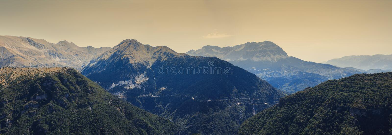 Banner of Panoramic view of mountain in National Park of Tzoumerka, Greece Epirus region. Mountain royalty free stock photo