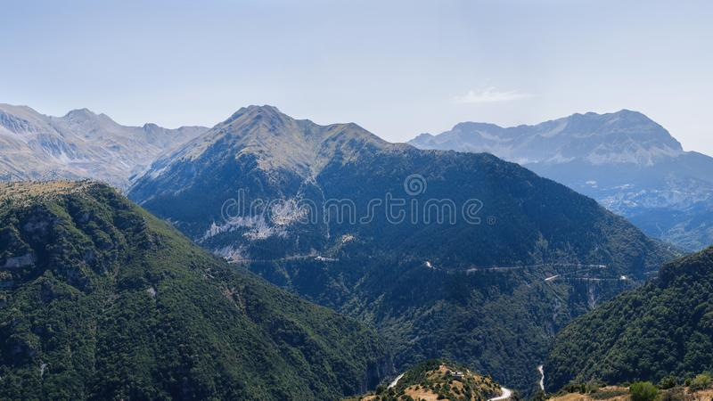 Banner of Panoramic view of mountain in National Park of Tzoumerka, Greece Epirus region. Mountain stock images