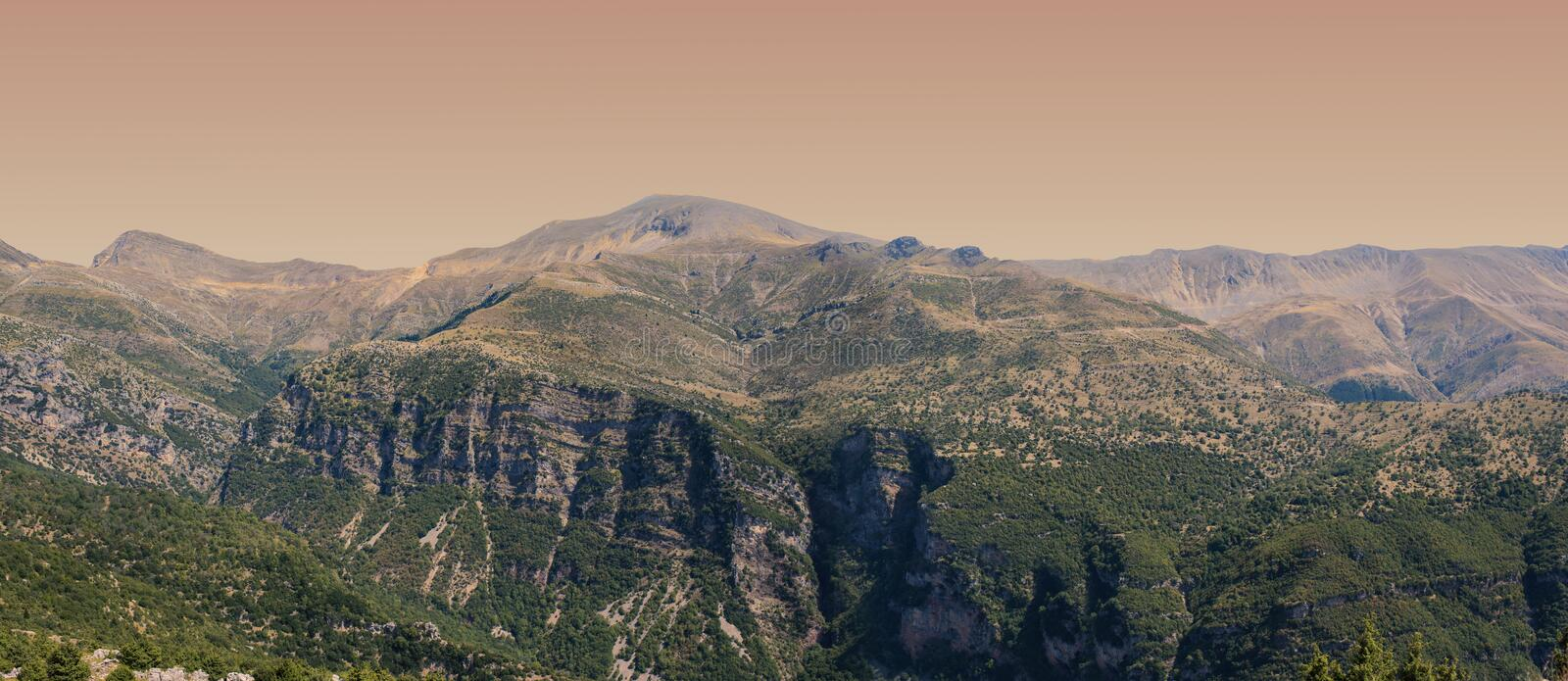 Banner of Panoramic view of mountain in National Park of Tzoumerka, Greece Epirus region. Mountain stock photos