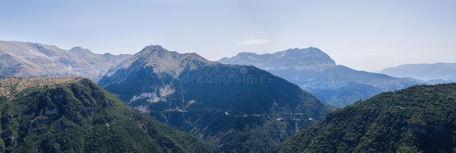 Banner of Panoramic view of mountain in National Park of Tzoumerka, Greece Epirus region. Mountain stock image