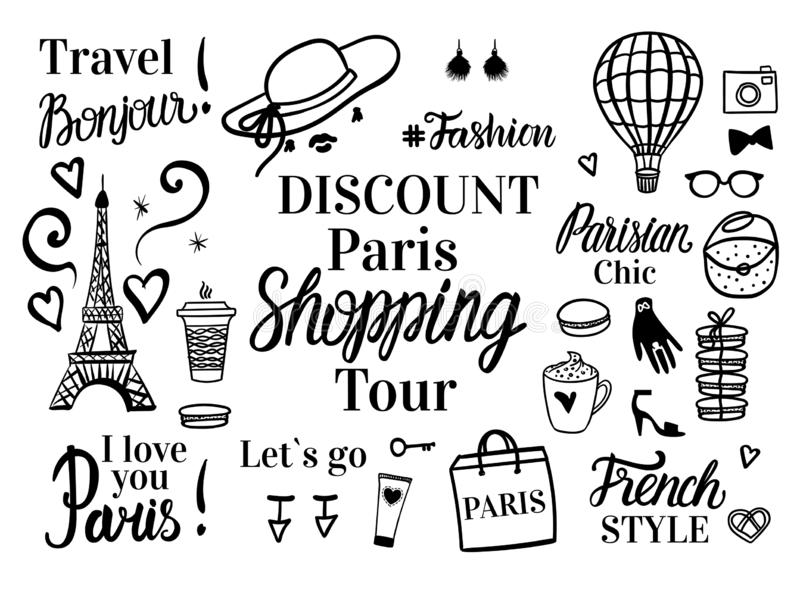 Banner Paris Discount tour. Set shopping black sketch fashion illustration. Vector isolated on white. Lettering inscriptions. royalty free illustration