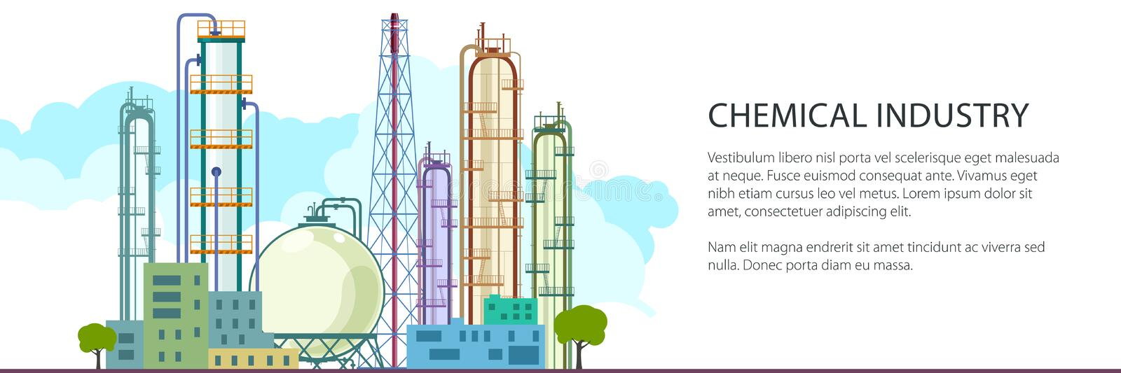 Banner of Petrochemical Industry. Chemical Plant , Refinery Processing of Natural Resources, Industrial Pipes and Text , Vector Illustration royalty free illustration