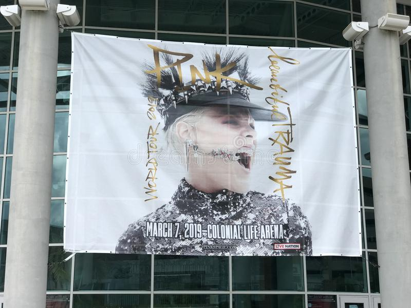 Banner for Pink Concert at Colonial Life Arena in Columbia, South Carolina.  stock photography
