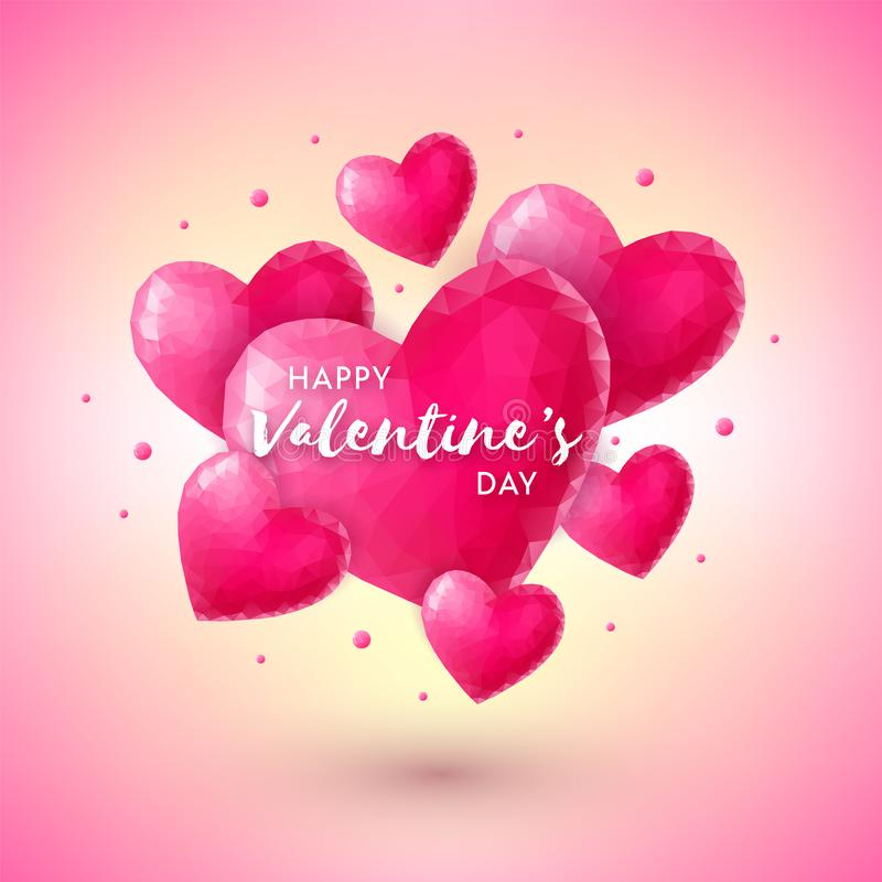 Banner with pink origami hearts vector illustration