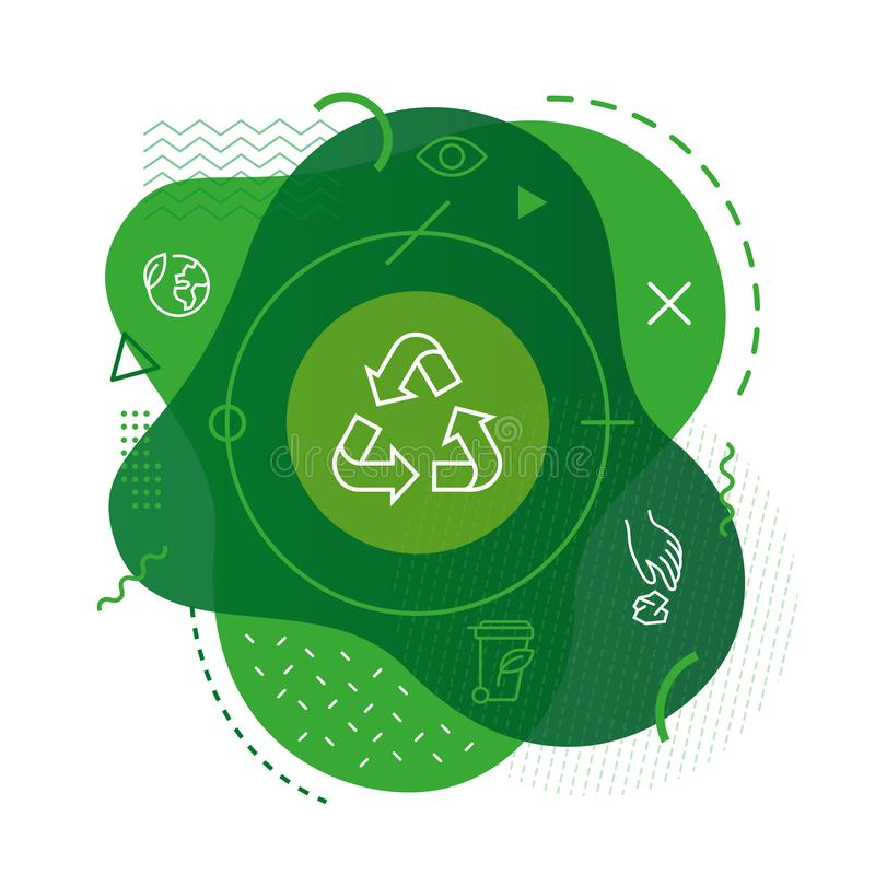 Recycle icon on modern background. Recycle icon on modern colorful background stock illustration