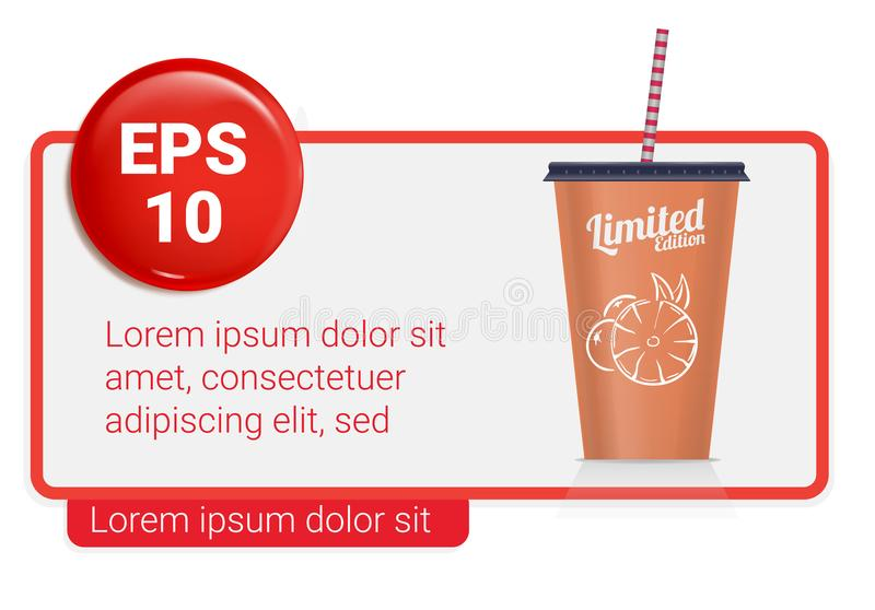 Banner with Plastic fastfood cup for beverages. Plastic cup mockup stock illustration